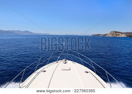 Summer Day Traveling On A Yacht Saronic Gulf, Greece. Horizontal. Saturated.