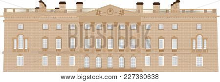 An Eighteenth Century Stately Home With Corinthian Pillars With Ornate Capitals,balustrades,pediment