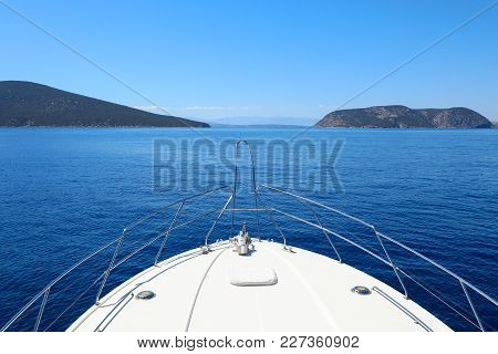Summer Day Traveling By The Yacht Near Spetsopoula And Spetses Islands, Saronic Gulf, Greece. Horizo