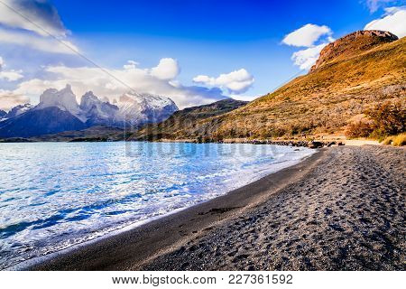 Torres Del Paine, Chile. Autumn Austral Landscape In Patagonia With Lago Pehoe In South America.