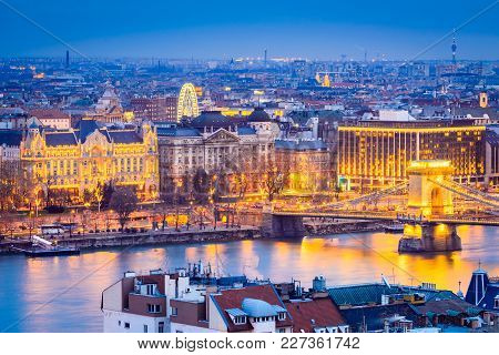 Budapest, Hungary. Szechenyi Chain Bridge And  Danube River.