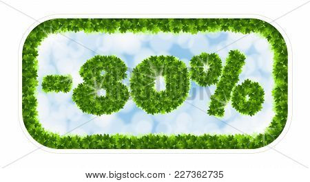 Wobbler Spring Sale 80 Percent Off. Letters And Figures From Maple Leaves On A Heavenly Background W