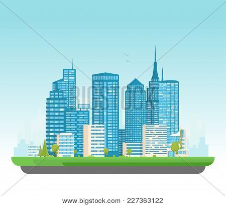 City Buildings Vector Illustration. Small Building, Big Skyscrapers And Large City Tall Skyscrapers