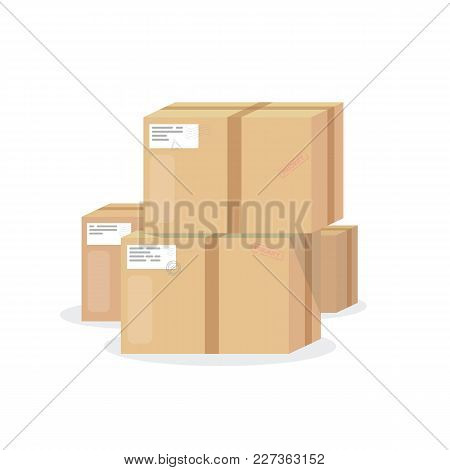 Delivery Boxes Vector Illustration. Cardboard Package With Adhesive Tape And Label. Shipping Concept