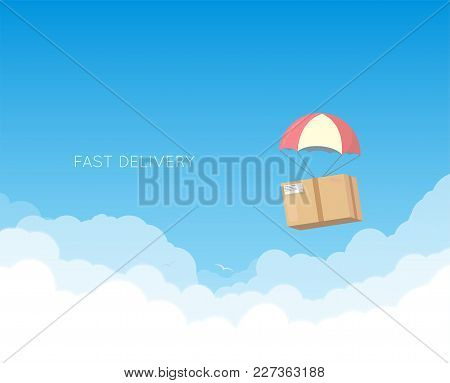 Cardboard With Parachute Flying Down In The Sky With White Clouds. Delivery Concept Banner. Text On