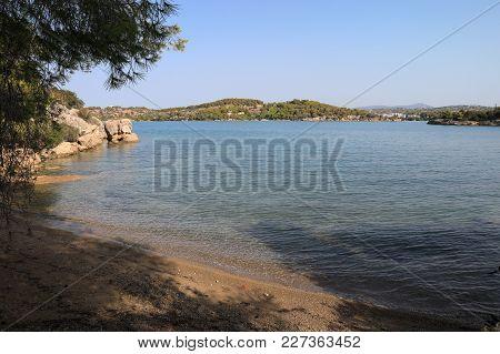 Morning Summer Time Sandy Beach Near Porto Heli, Peloponnese, Greece. Horizontal.