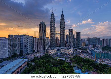 Kuala Lumpur, Malaysia - Circa October 2017: Golden Hour Sunset View Of Kuala Lumpur City Skyline Ta