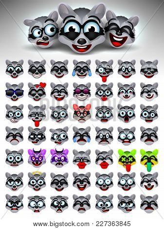 Raccoon face emotions. Facial expression.Emoji.Vector illustration. Funny Crazy Raccoons cartoon character.Emotions,emoticons set. Mood. Web icon.
