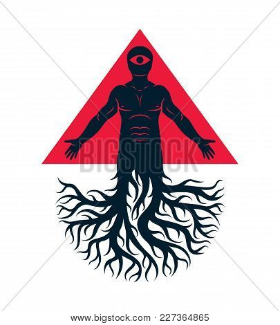 Mason Vector Illustration Created As Athletic Man Composed With Tree Roots And Red Triangle With All