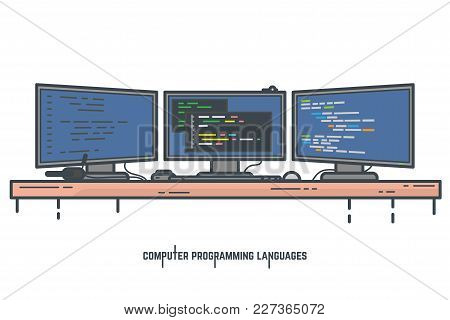 Programmer Workspace Vector Illustration. Programming And Coding Desktop Setup With Three Monitors.