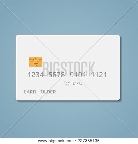 A Realistic Bank Credit Or Debit Card With A Chip To Pay For Purchases In The Store And The Internet