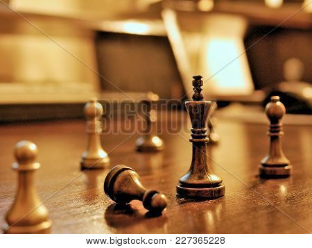 Metal Chess Pieces, Business Strategy Concept Image.