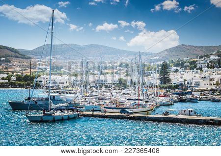 Paros, Greece - June 29, 2017: Beautiful View Of Parikia Town In Cyclades Islands. There Are White H