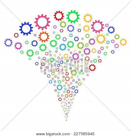 Multi Colored Cogwheel Burst Fountain. Object Fountain Combined From Random Cogwheel Design Elements