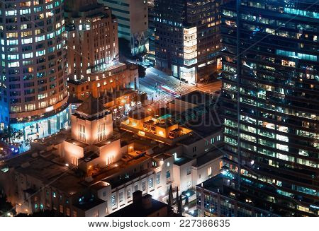 Aerial View Of Downtown Los Angeles, Ca At Night