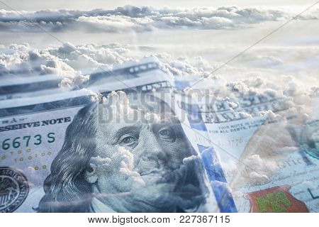 Financial Freedom With Hundreds With Clouds High Quality Stock Photo