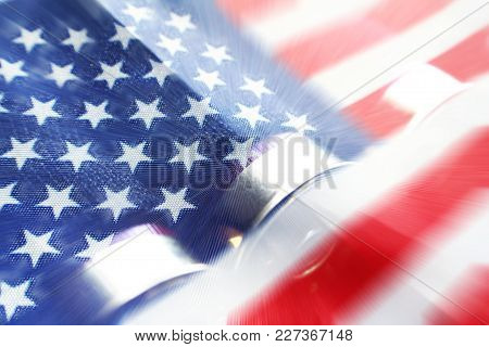 American Flag With Shotgun Shells Representing The Fight For Freedom
