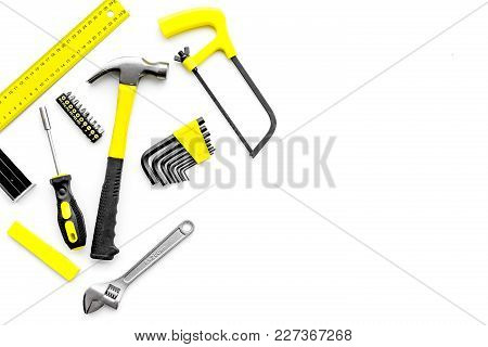 Various Repair Tools. Must-have For Men. Equipment For Building. White Background Top View Copy Spac