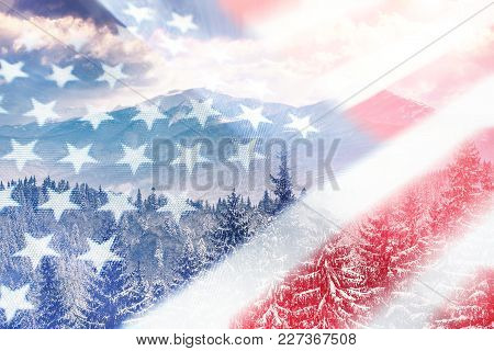 American Flag With Winter Background High Quality Stock Photo