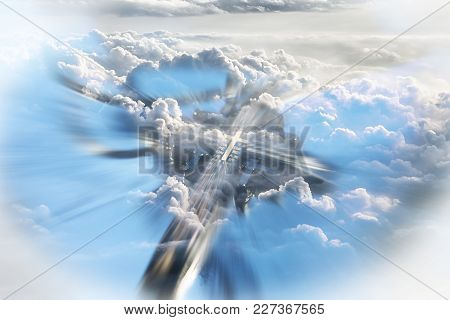 Jesus Christ Cross In Clouds Representing Heaven High Quality