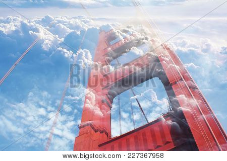 Golden Gate Bridge Close Up With Clouds High Quality Stock Photo