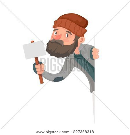 Look Out Corner Poor Homeless Bum Male Character Beg Help Hand Isolated Cartoon Icon Design Vector I
