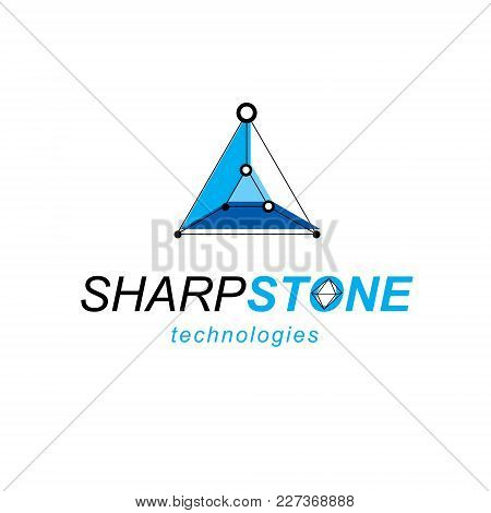 Technology Corporate Emblem. Vector Abstract 3d Mesh Object, Design Element Technology Low Poly Temp