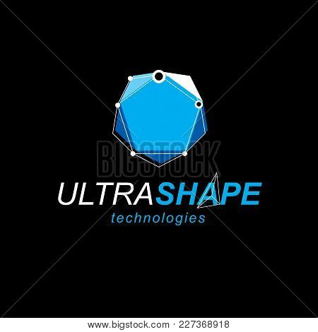 Technology Corporate Symbol. Abstract Geometric 3d Faceted Object, Digital Science Theme Vector Illu