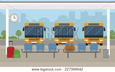 Bus Station. Buses And Waiting Area On City Background. Flat Style, Vector Illustration.