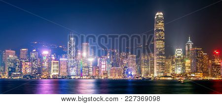 Panorama View Of Hong Kong Downtown The Famous Cityscape View Of Hong Kong Skyline During Twilight T