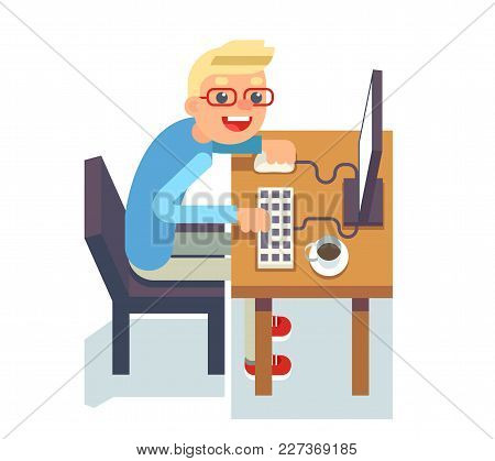 Pc Monitor Programmer Table Chair Guy Isolated Flat Icon Design Character Vector Illustration