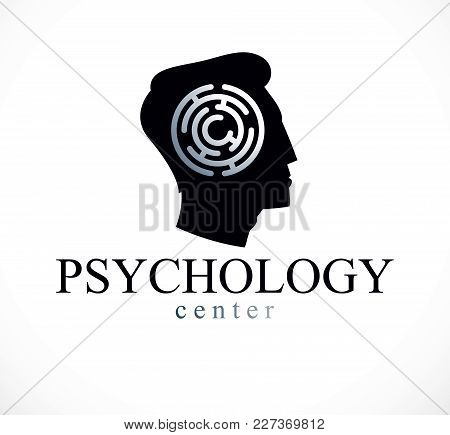 Mental Health And Psychology Conceptual Logo Or Icon Created With Man Face Profile And Maze, Psychoa