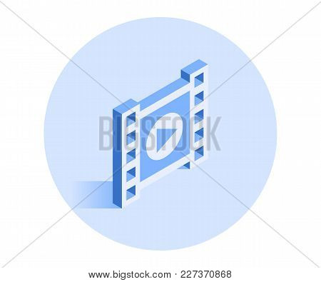 Filmstrip Icon. Vector Illustration In Flat Isometric 3d Style.