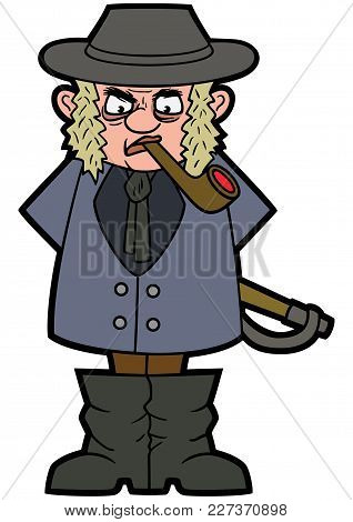 Illustration Cartoon Country Gentleman With A Whip And A Pipe