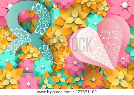 International Women's Day Banner With Paper Cut Flowers, Floral Pattern. March 8. Greeting Card, Fly