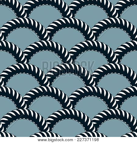 Seamless Pattern Rope Woven Vector, Abstract Illustrative Background. Weaving Or Fishing Net Macro D
