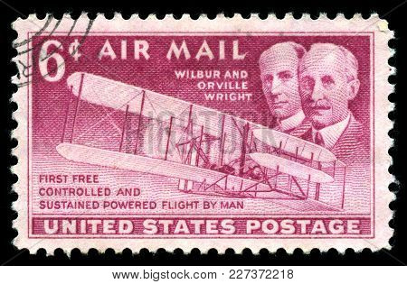 London, Uk, July 30 2014 - Vintage 1949 United States Of America Cancelled Postage Stamp Showing An
