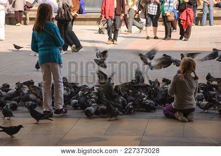 Girls And Pigeons - People And Birds On The Main Square