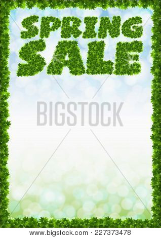 Poster Spring Sale. Letters From Maple Leaves On A Heavenly Background With The Effect Of Bokeh And