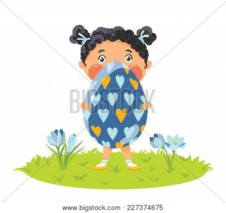 Little Girl With Gigantic Decorative Egg On Grass With Crocuses, Happy Easter Illustration