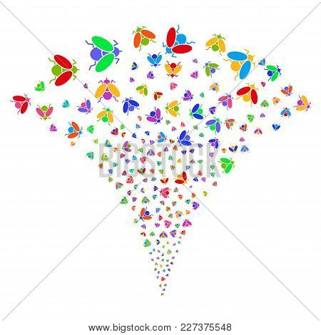 Multicolored Fly Insect Festive Fountain. Object Fountain Organized From Random Fly Insect Icons As