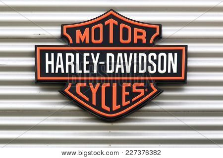 Dardilly, France - June 28, 2017: Harley-davidson Logo On A Wall. Harley-davidson Is An American Mot
