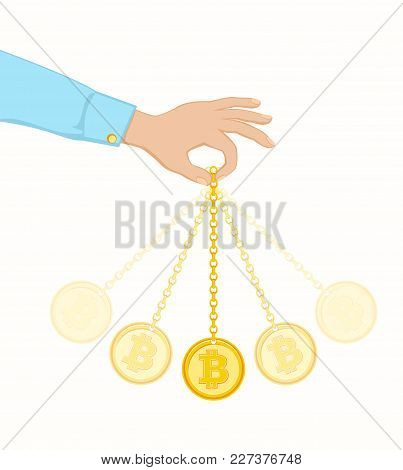 Conception Of Exchange Rate Bitcoin. Well Known Trick Of Hypnotists. Coin Swing Like A Pendulum. Vec