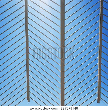 Patterned White Metal Structure With Diagonal Lines