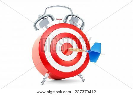 Alarm Clock With Target, Aim And Solution Concept, 3d Rendering Isolated On White Background