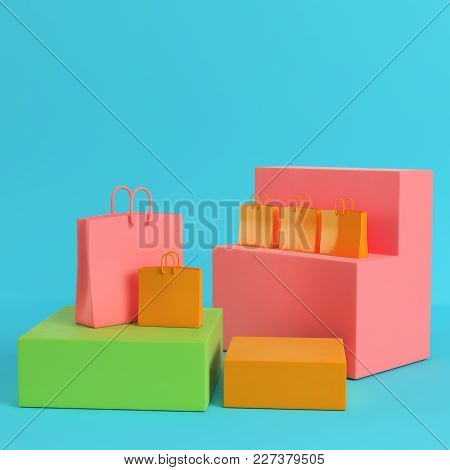 Shopping Bags On Colorfull Boxes On Bright Blue Background In Pastel Colors. Minimalism Concept. 3d