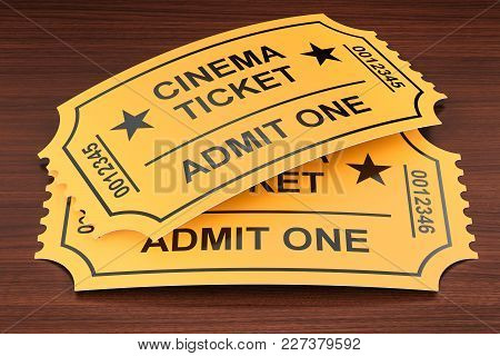 Cinema Tickets On The Wooden Table, 3d Rendering