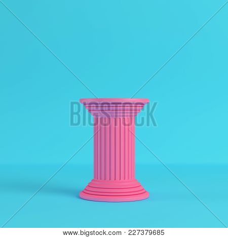 Pink Ancient Pillar On Bright Blue Background In Pastel Colors. Minimalism Concept. 3d Render