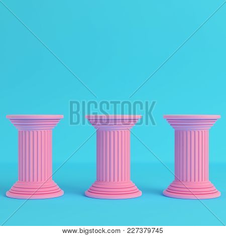 Three Ancient Pillars On Bright Blue Background In Pastel Colors. Minimalism Concept. 3d Render