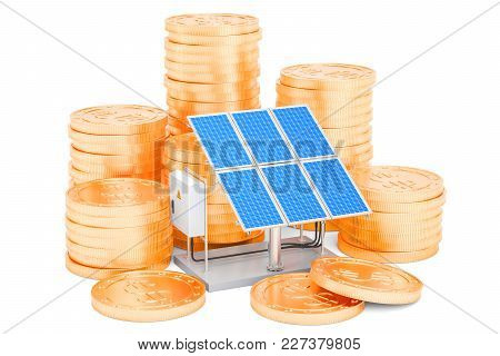 Efficiency From Solar Energy Concept. 3d Rendering Isolated On White Background